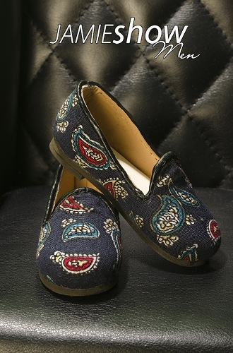 JAMIEshow Men Paisley Blue Slippers