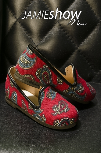 JAMIEshow Men Paisley Red Slippers