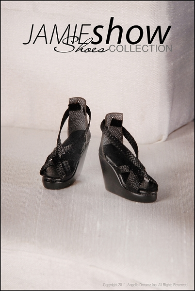 JAMIEshow Demi Shoe Collection Black Wedge Sandal (for 12