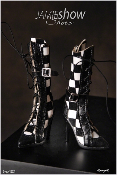 JAMIEshow Shoe Collection Black & White Checked Boots