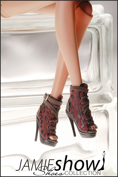 JAMIEshow Shoes Animal Print Suede Bootie Ocelot Red