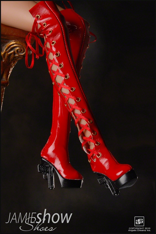 JAMIEshow Shoe Collection Pistol Heel Boots Red