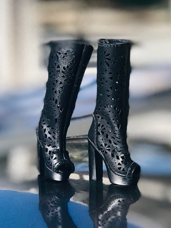 Black Lace Cut High Heel Boots
