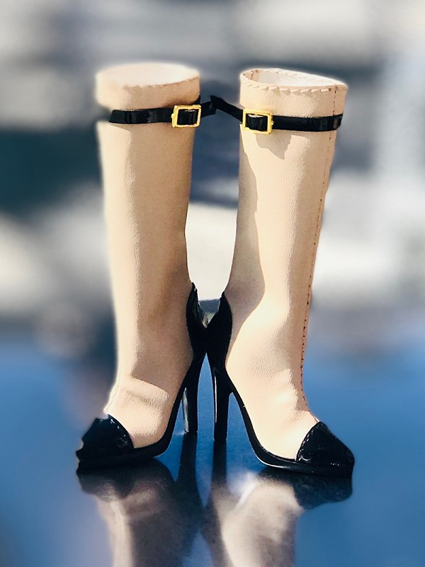 Black and Beige High Heel Boots