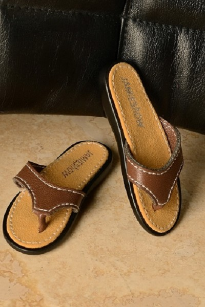 JAMIEshow Men Brown Leather Flip Flops