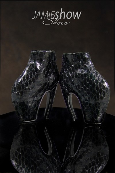 JAMIEshow Shoe Collection Armadillo Shoe in Black Snake Skin