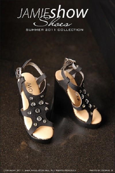 "JAMIEshow Shoe Collection Black Jeweled Wedge Shoes (for 16"" Doll)"