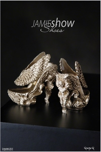 JAMIEshow Shoe Collection Gold Angel Wing Shoes
