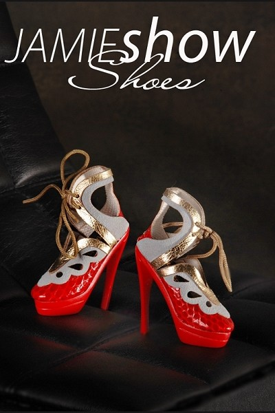 JAMIEshow Shoes Red Gold and Grey Crock High Heels
