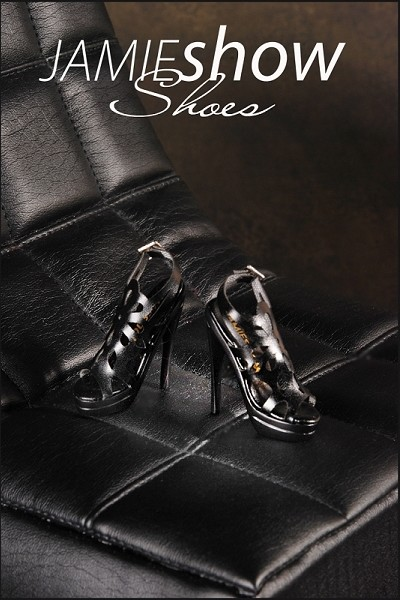 JAMIEshow Shoes Black Spider Lace Heels