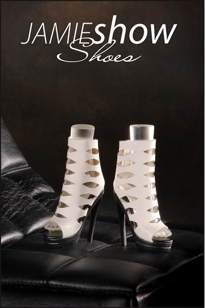 JAMIEshow Shoes White Laser Cut High Heel Boot