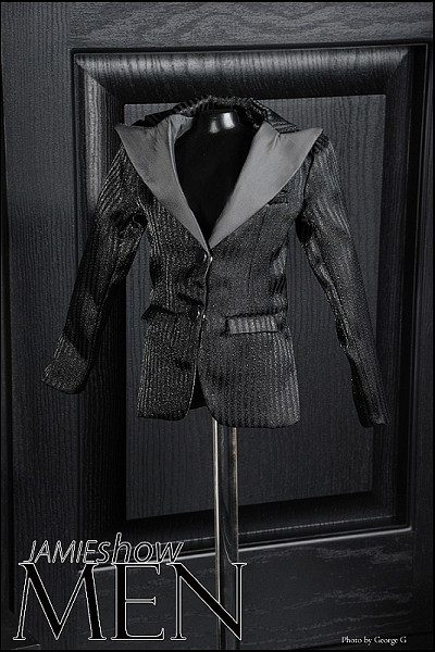 JAMIEshow Men Black Pin Stripe Jacket