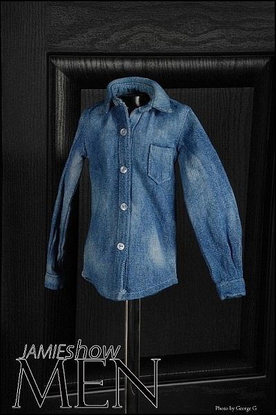 JAMIEshow Men Distressed Denim Shirt