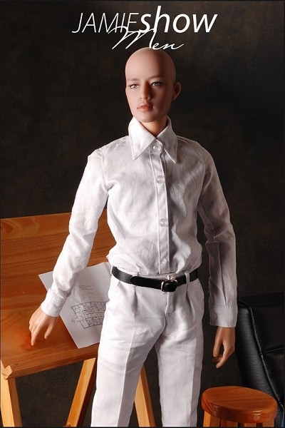 JAMIEshow Men Lite White Dress Shirt