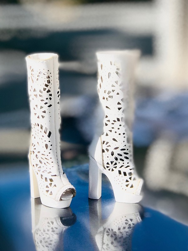 White Lace Cut High Heel Boots